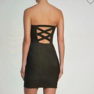 Strapless sexy X back body-con  dress black large